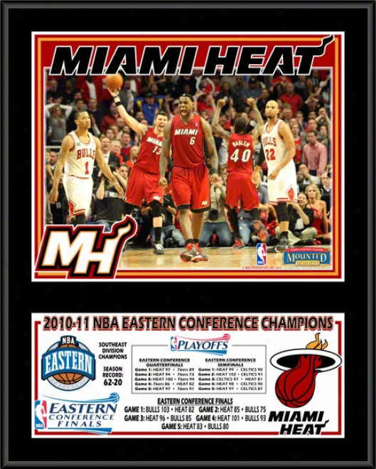 Miami Heat 2010-2011 Easetrn Confedence Champions Sublimated 12x15 Color Plaque