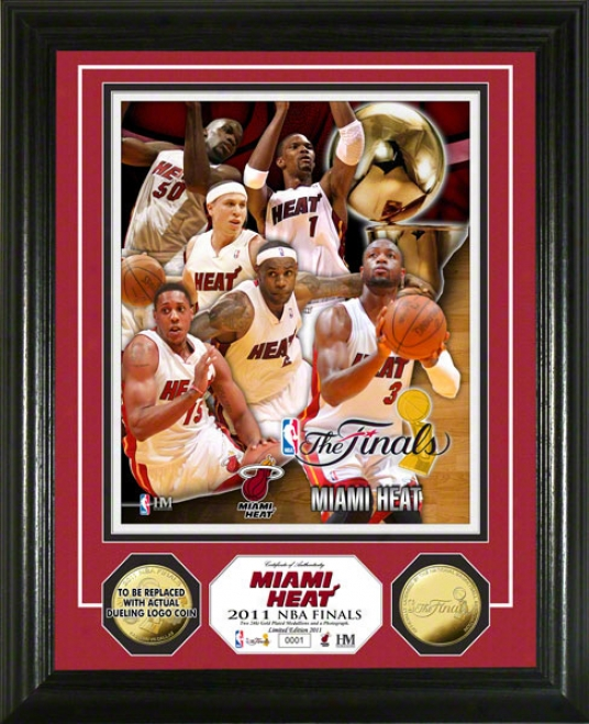 Miami Heat 2011 Nba Finals Team Force 24kt Gold Coin Photo Mint