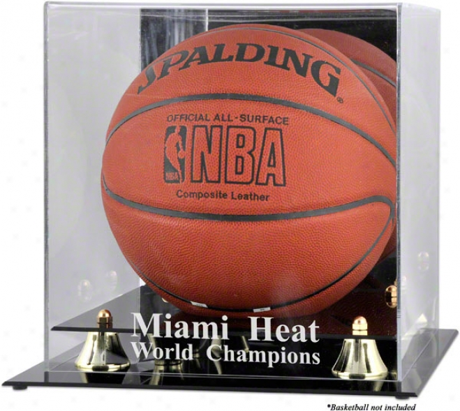 Miami Heat Golden Classic Lkgo Basketball Display Case  Details: 2006 Nba Champions Engraving, With Reflector Back