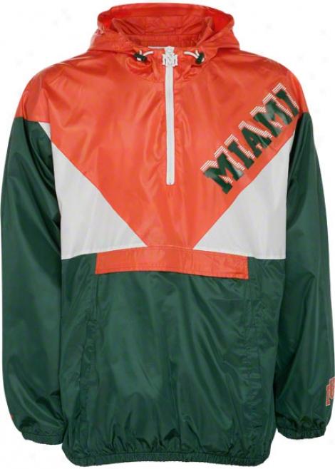 Miami Hurricanes Big & Tall Mitchell & Ness Green And Orange Bankshot Windbreaker Jacket