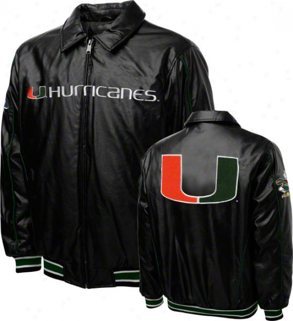 Miami Hurricannes Faux Leather Full-zip Varsity Jacket