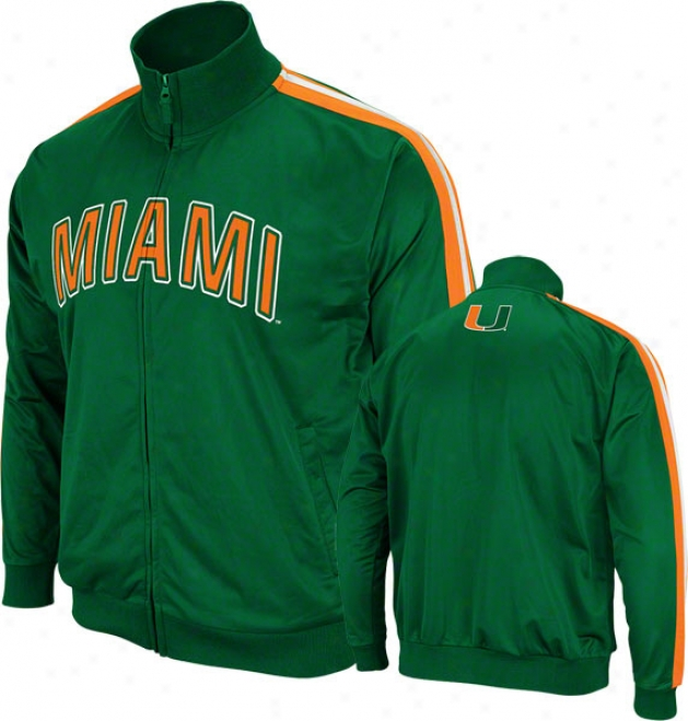 Miami Hurricanes Green Pace Track Jacket