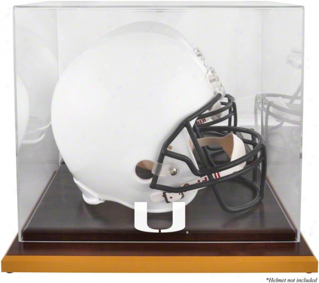 Miami Hurricanes Logo Helmet Display Case  Details: Wood Base, Mirrored Back