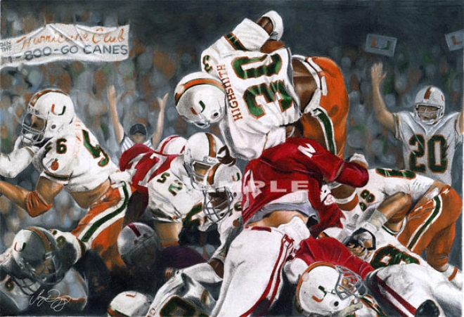 Miami Hurricanes - &quotmiami On Too&quot - Large - Unframed Giclee