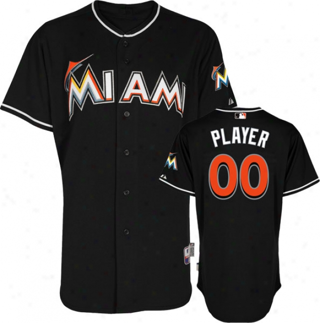 Mismi Marlins Jersey: Any Player Alternate Black Authentic Cool Baseã¢â�žâ¢ Jersey