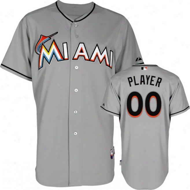 Miami Marlins Jersey: Any Player Road Grey Authentic Cool Baseã¢â�žâ¢ Jersey