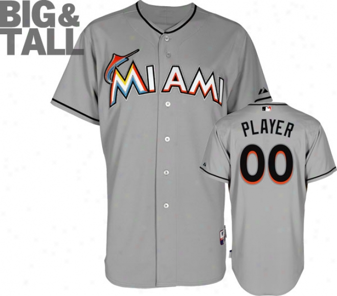 Miaami Marlins Jersey: Big & Tall Any Player Road Grey Authentic Cool Baseã¢â�žâ¢ Jersey