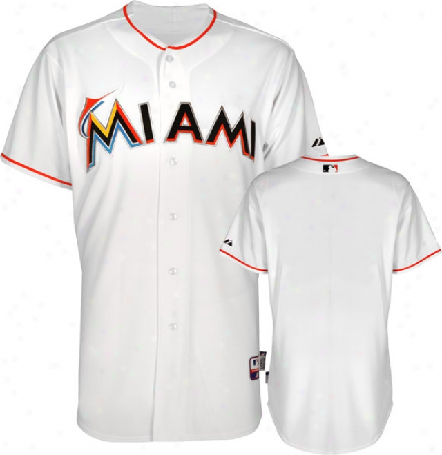 Miami Marlins Jersey: Home White Authentic Cool Baseã¢â�žâ¢ Jersey