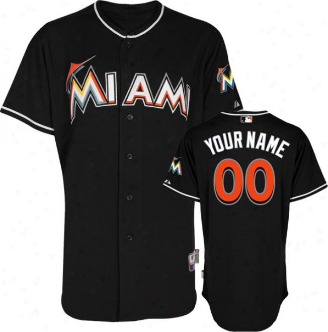 Miami Marlins Jersey: Personalized Alternae Black Authentic Cool Baseã¢â�žâ¢ Jersey