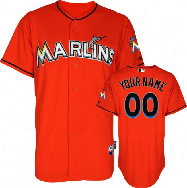 Miami Marlins Jersey: Personalized Alterrnate Firebrick Authentic Cool Baseã¢â�žâ¢ Jersey