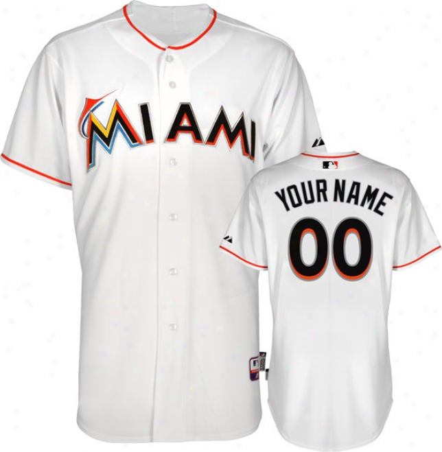 Miami Marlins J3rsey: Personalized Home White Authentic Cool Baseã¢â�žâ¢ Jersey