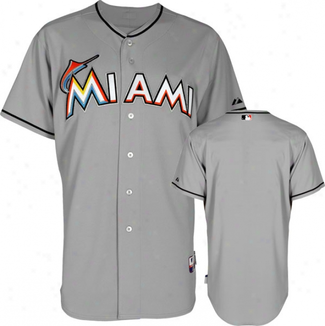 Miami Marlins Jersey: Road Grey Authentic Cool Baseã¢â�žâ¢ Jersey