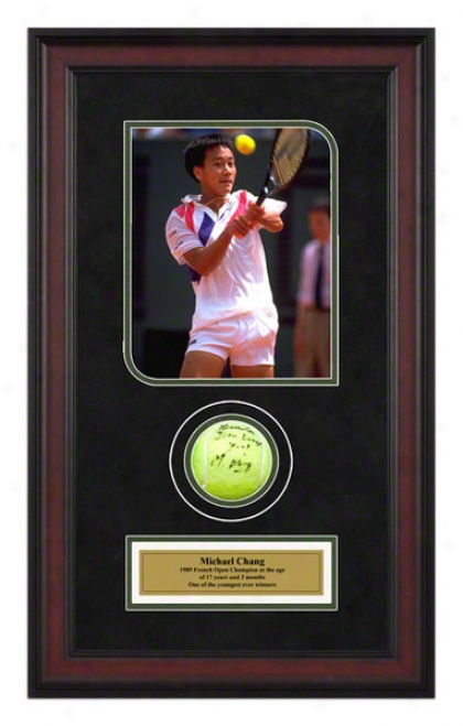Michael Chang 1989 French Open Championships Framed Autographed Tennis Ball Wifh Photo