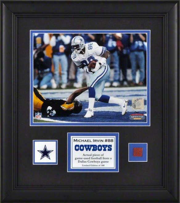 Michael Irvin Framed 8x10 Photograph  Details: Dallas Cowboys, With Game Used Football Piece And Descriptive Plaet