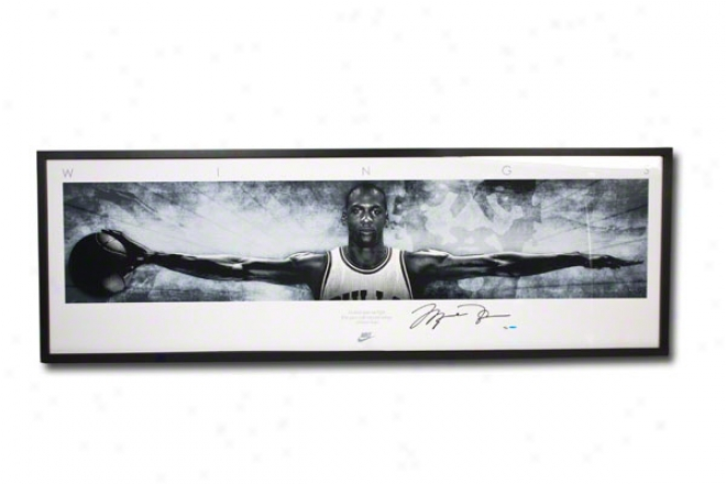 Michael Jordan Autographed Chicago Bulls 20th Anniversary Nike Wings Concept Poster Edition 76x28 Framed Panoramic Photograph