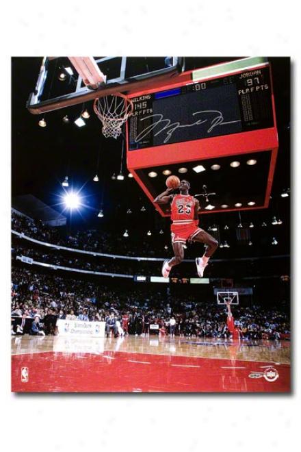 Michael Jordan Autographed Chicago Bulls 88 Slam Dunk Scoreboard 20x24 Unframed Photograph