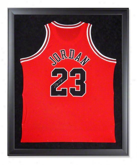 Michael Jordan Autographed Chicago Bulls Mitchell & Ness 97-98 Away Red Framed Jersey