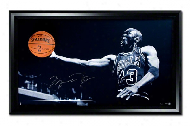 Michael Jordan Autographed Glide Breaking Through Framed
