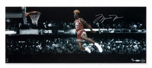 Michael Jordan Autographed Picture: Chicago Bulls Autographed Gatorade Slam Dunk 30x12 Panoramic Photo