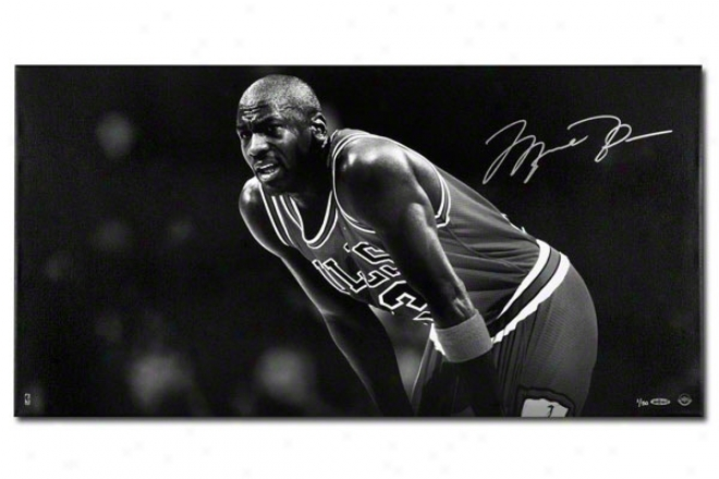 Michael Jordan Autographed Tribute Canvas  Details: Chcago Bulls, Dark And White, Limited To 50