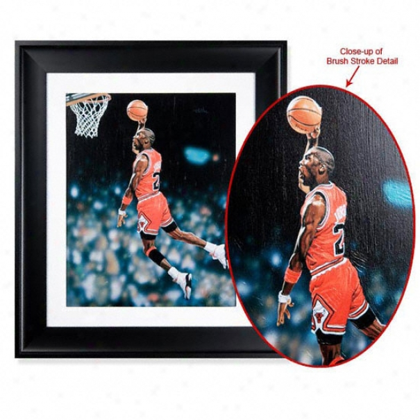 Michael Jordna Chicago Bulls - Brushst5okes - Framed 28x24 Art Display Piece
