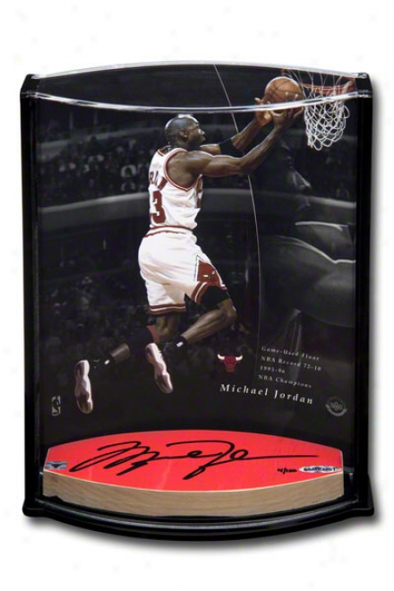 Michael Jordan Game Used Autographed 3x6 Oval Floor Piexe And Photo  Details: Chicago Bulls, &quot72 Wins,&quot Vertical Curved Acrylic Display Case, 8x10, Limi