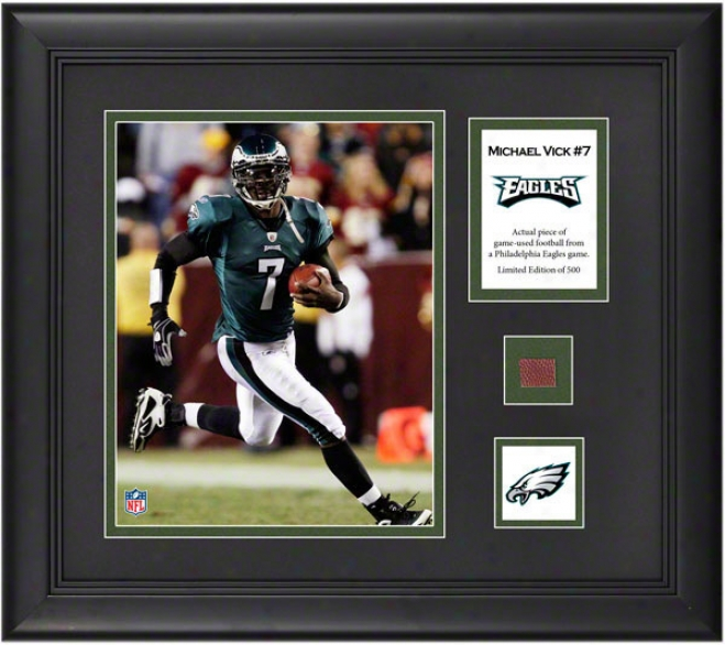 Michael Vick Framed 8x10 Photograph  Details: Philadelphia Eagles, With Game Used Football Painting And Descriptive Plate