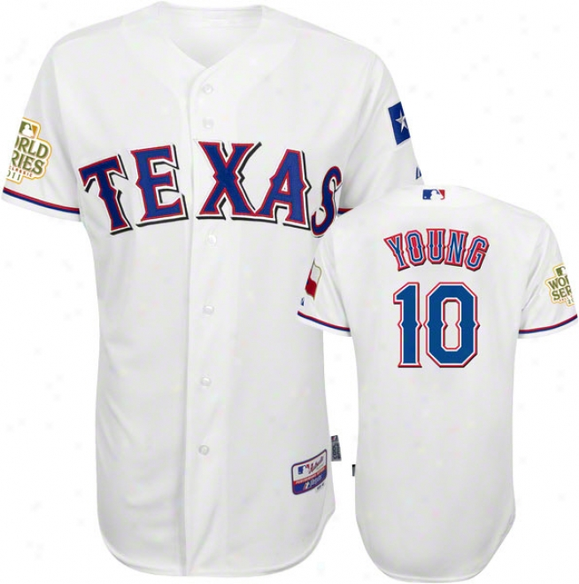 Michael Young Jersey: Texas Rangers #10 Home White Authentic Indifferent Baseã¢â�žâ¢ Jersey With 2011 World Series Participant Patch