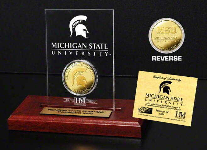 Michigan State Sprtans 24kt Gold Coin In Etched Acrylic