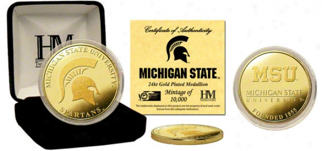 Michigan State Spartan s24kt Gold Coin