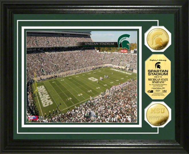 Michigan Express  Spartans Spartan Stadium 24kt Gold Coin Photo Mint