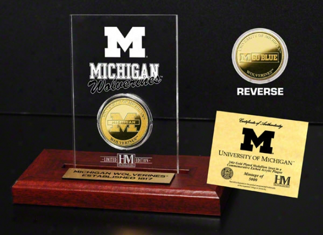 Michigan Wolverines 24kt Gold Coin In Etched Acrylic