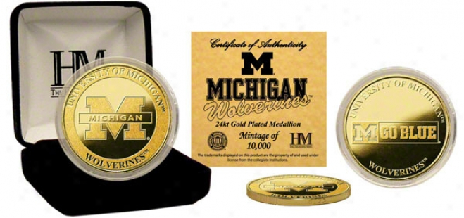 Michigan Wolverines 24kt Gold Coin