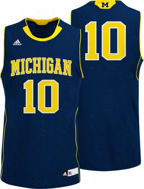 Michigan Wolverines Adidas #10 Road Navy Replica Basketball Jersey
