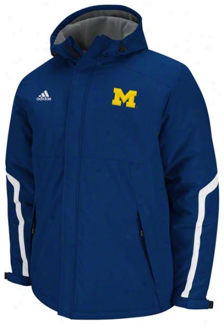Michigan Wolverines Adidas Navy Football Sideline Heavyweigyt Hooded Jacket