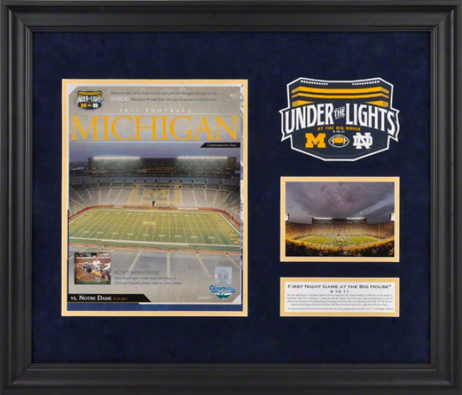 Michigan Wolverines Framed Program Print Art  Particulars: First Night Game, In the opinion of Descriptive Plate