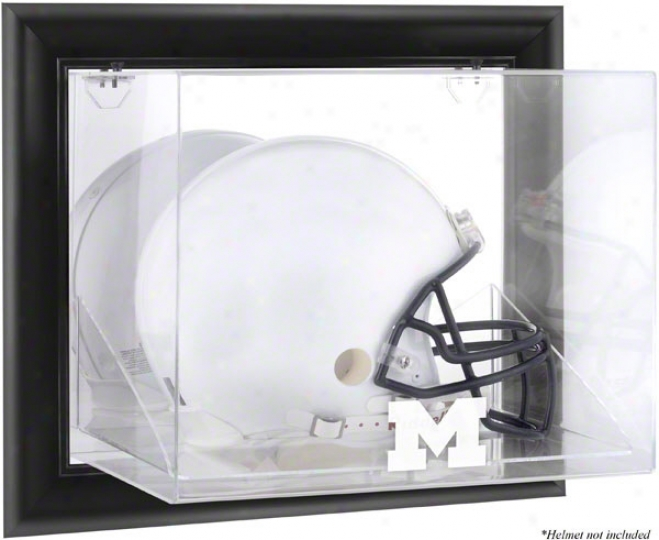 Michigan Wolverines Framed Wall Mountable Logo Helmet Display Case