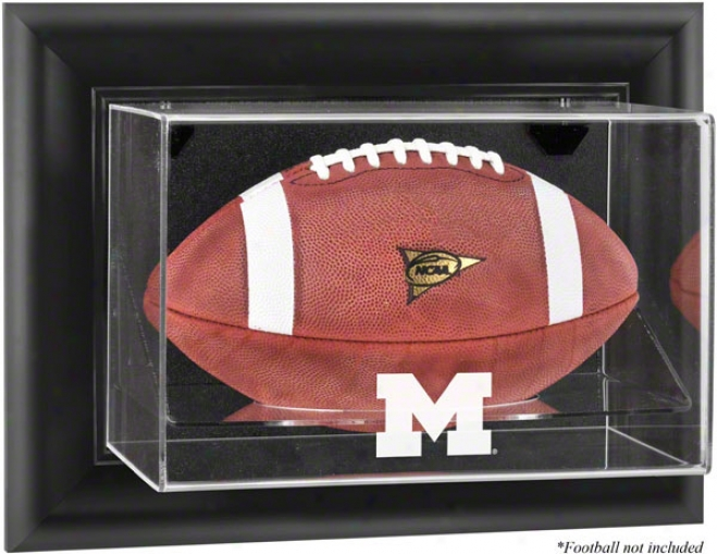 Michigan Wolverines Framed Wall Mounted Logo Football Dlsplay Case