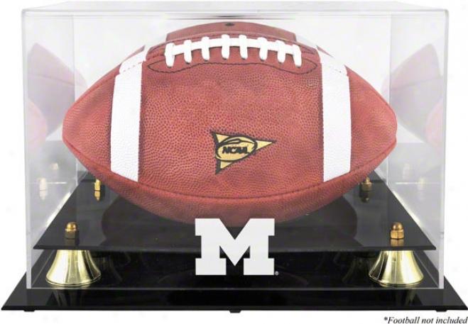 Michigan Wolverines oGlden Elegant Logo Football Displsy Case