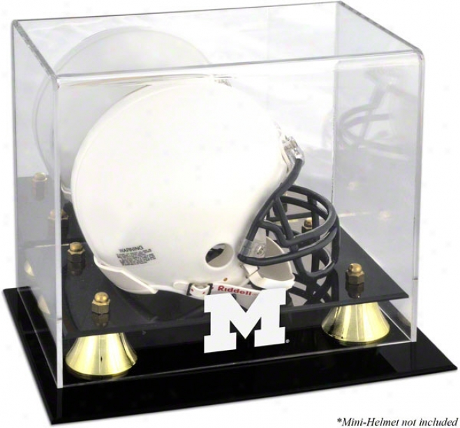 Michigan Wolverines Golden First-rate Logo Mini Helmet Display Case
