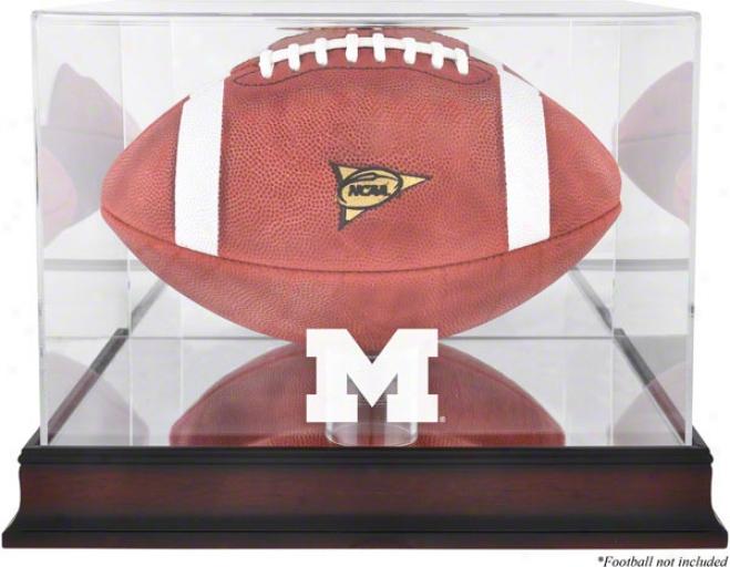 Michigan Wolverines Mahogany Logo Footbal Display Case