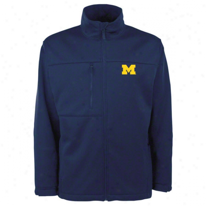 Michigan Wolverines Navy Traverse Bonded Soft Shell Jacket
