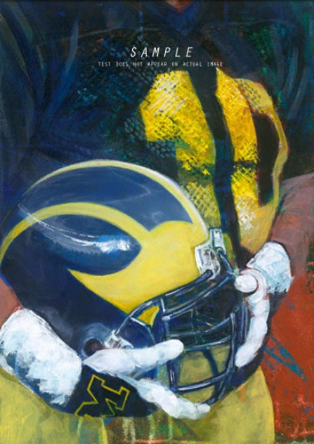 Michigan Wolverines - &quotu Of M Helmet Series&quot - Large - Unftamed Giclee
