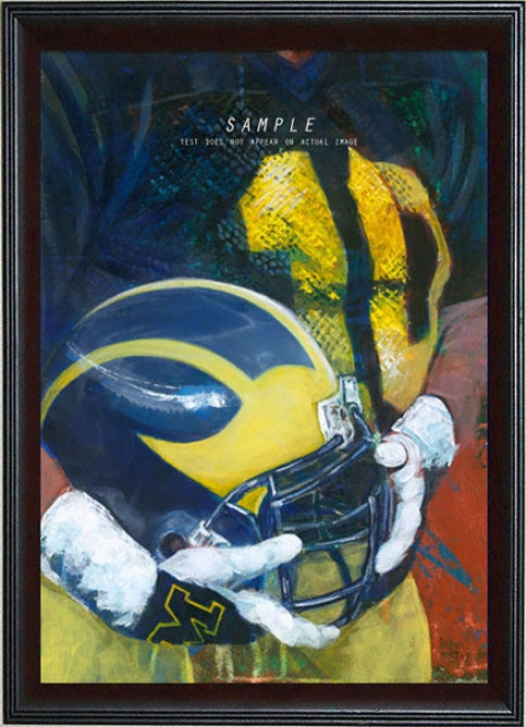 Michigan Wolverines - &quotu Of M Helmet Series&quot - Oversized - Frame dGiclee