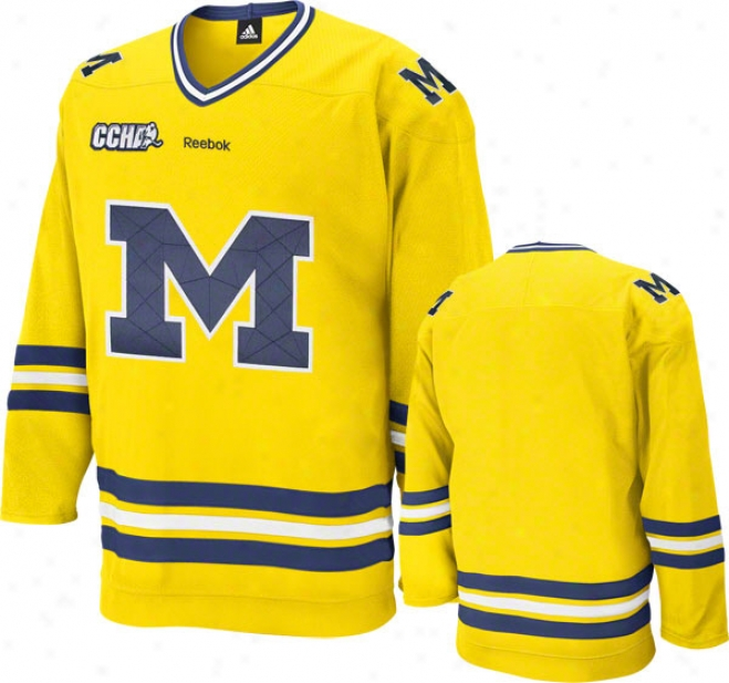 Michigan Wolverines Reebok Gold Premier Hockey Jersey