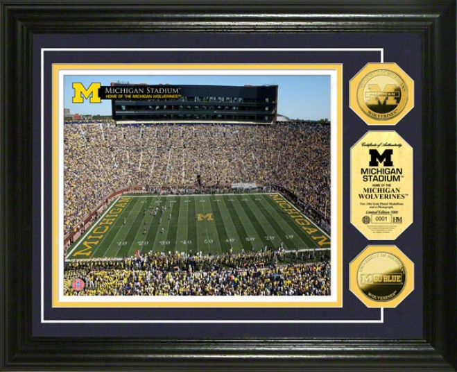 Michigan Wolverines tSadium 24kt Gold Coin Photo Mint