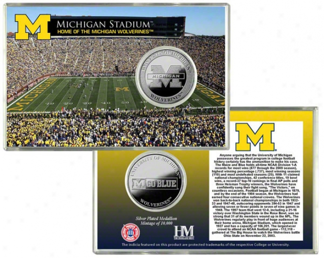 Michigan Wolverines Stadium Silver Coin Card