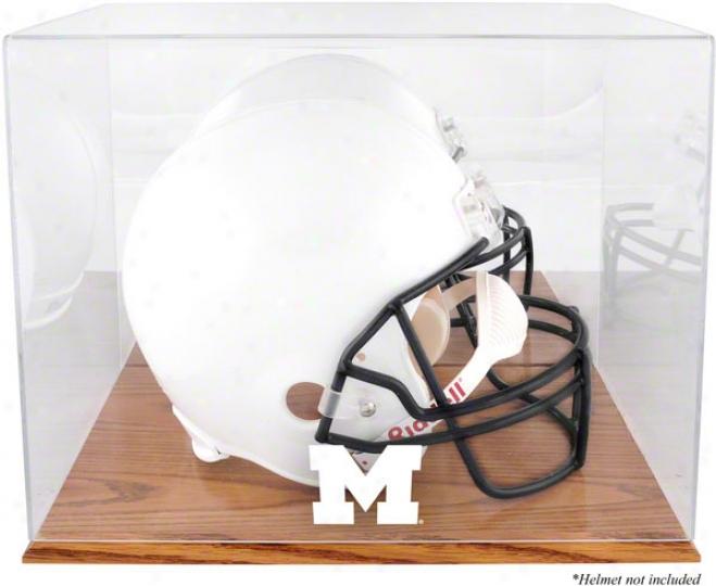 Michigan Wolverines Team Logo Helmet Display Case  Details: Oak Base