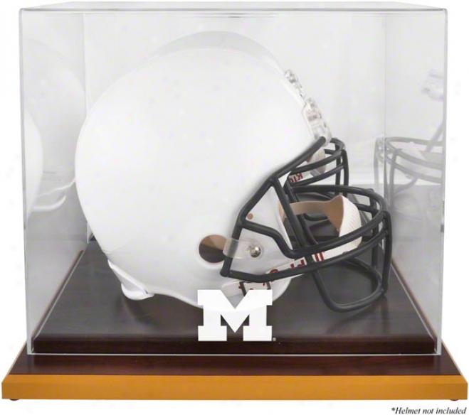 Michigan Wolverines Woodbase Logo Helmet Display State