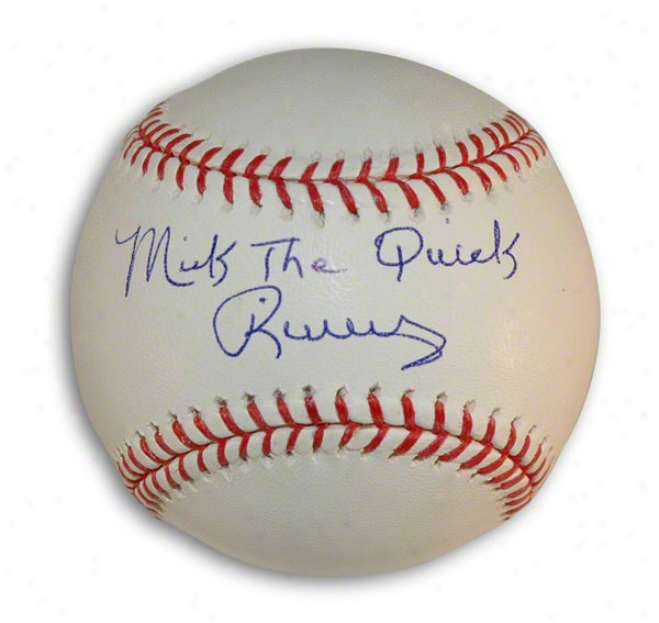 Mickey Rivers Autographed Mlb Baseball Inscribed &quotthe Quick&quot